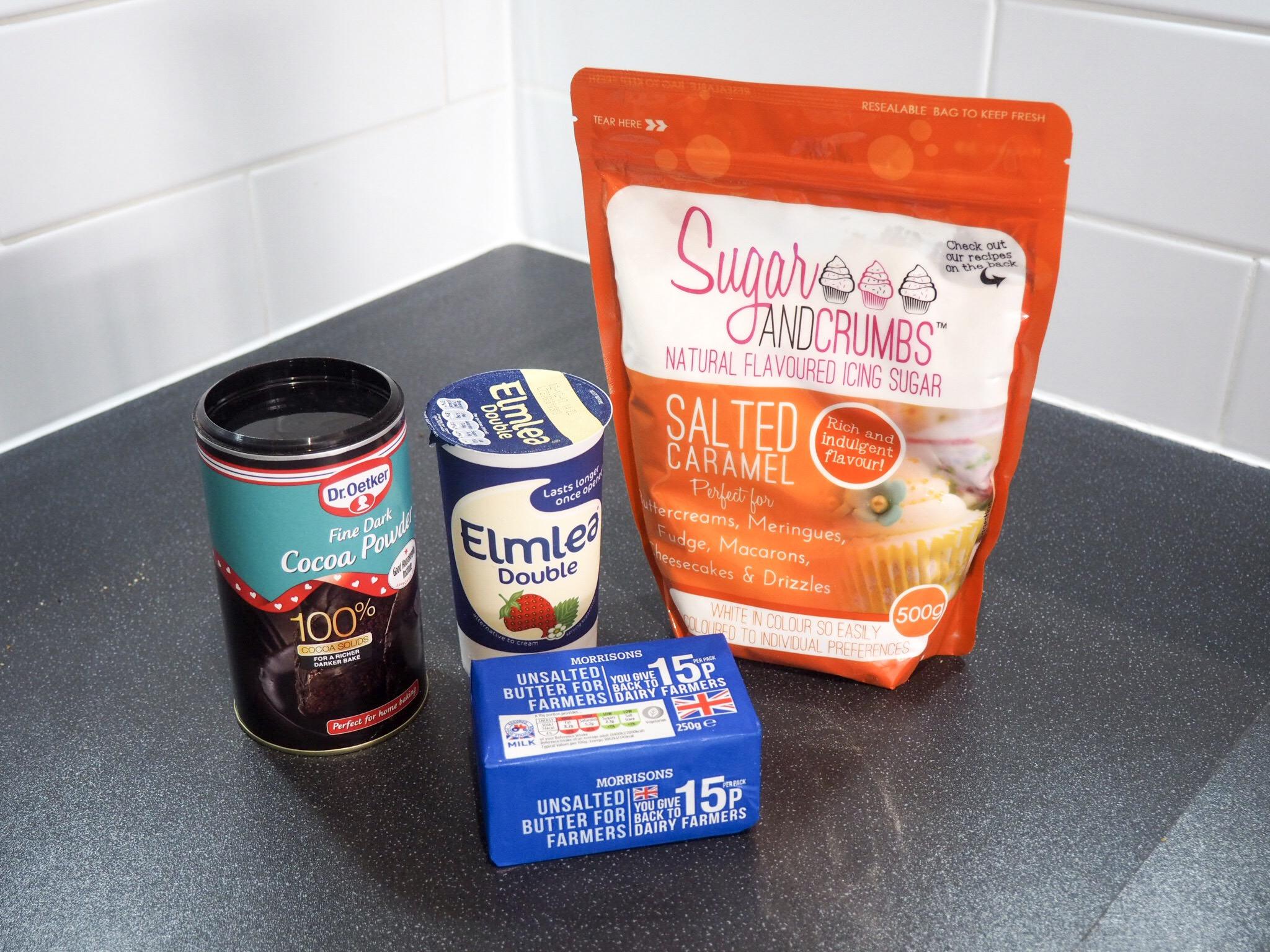 Salted caramel chocolate cake ganache ingredients
