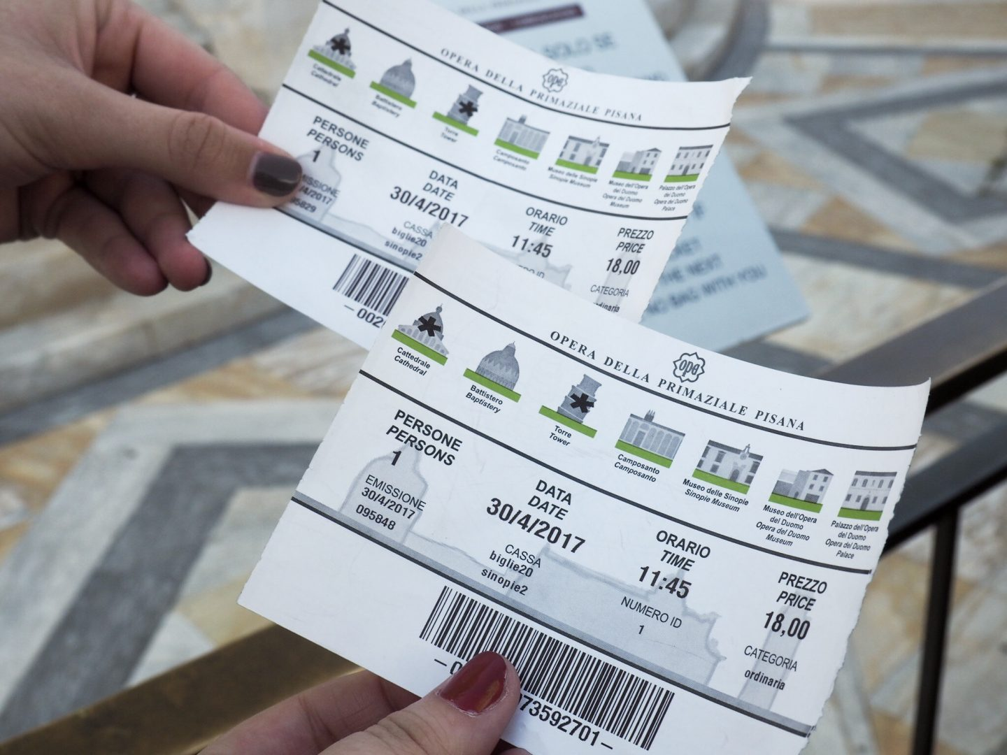Tickets for the Leaning Tower of Pisa