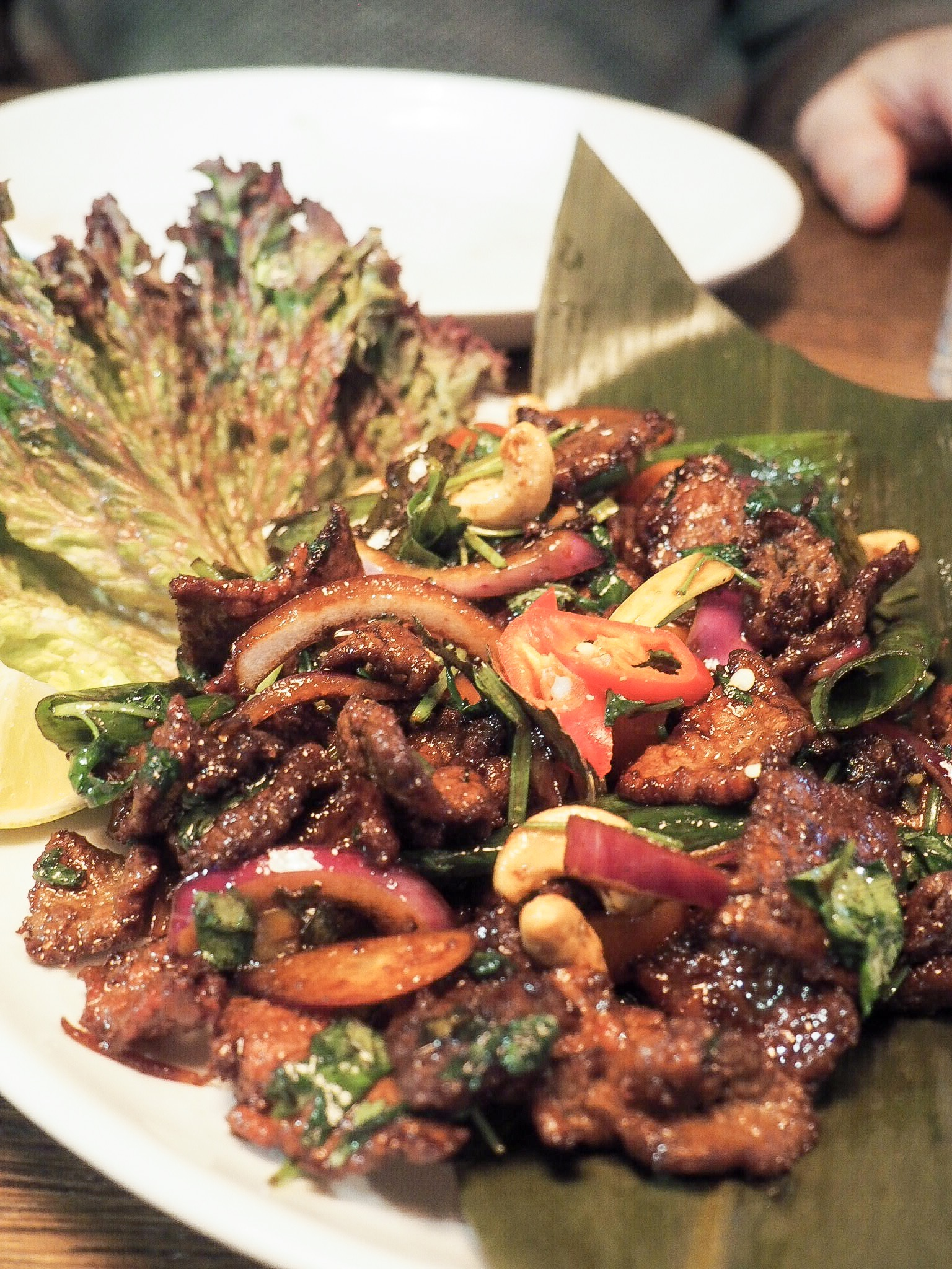 Sauteed beef with with Kari Patta & cashew nuts