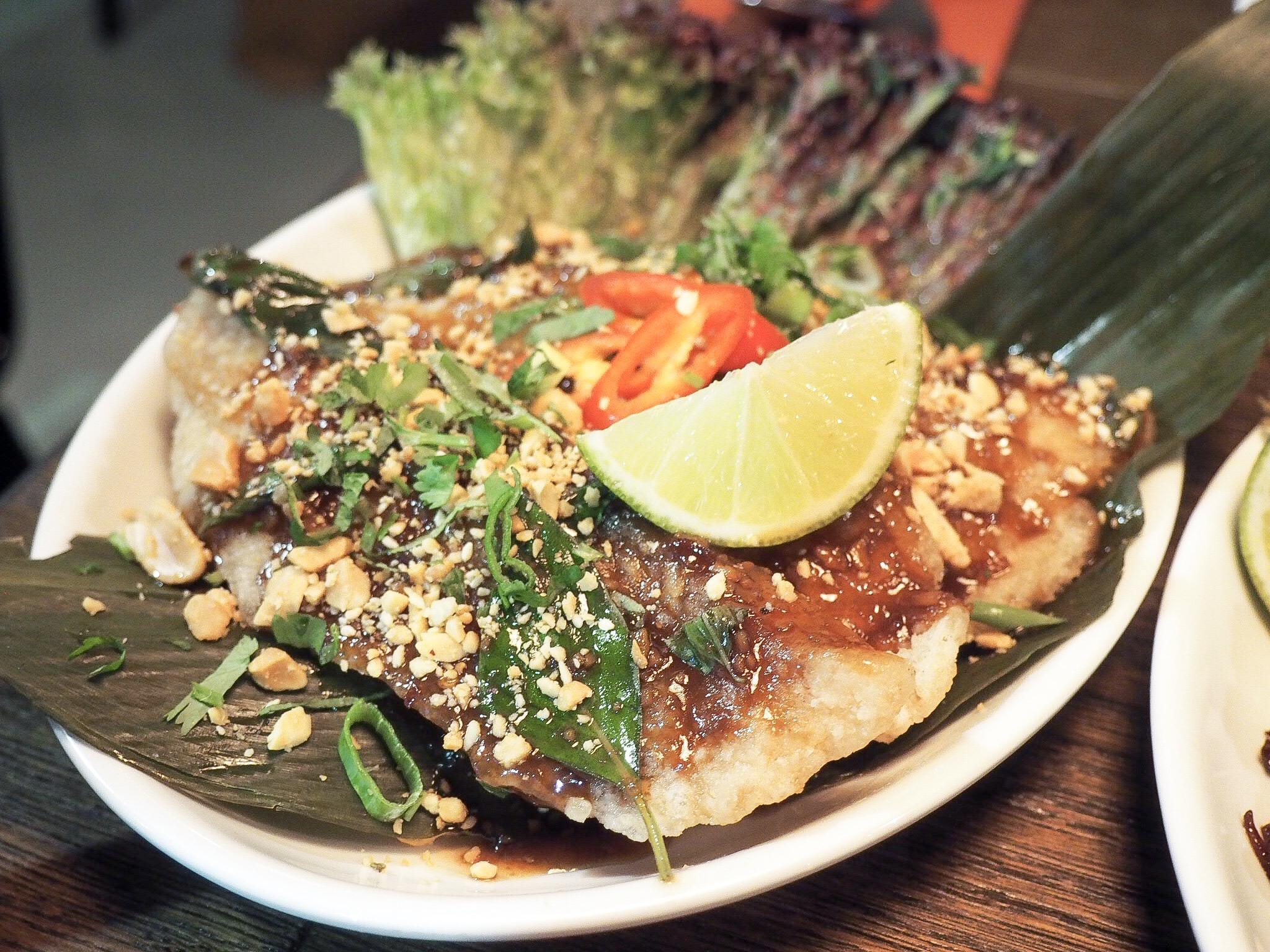 Tamarind crispy fish with thai basil glaze