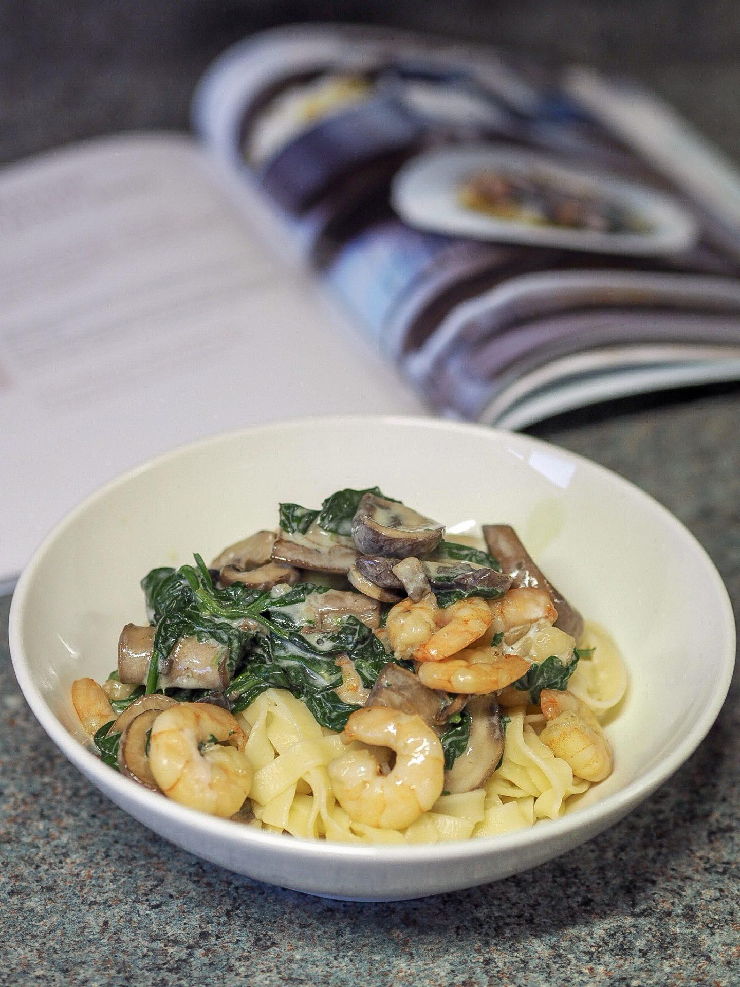 Creamy mushroom and prawn pasta
