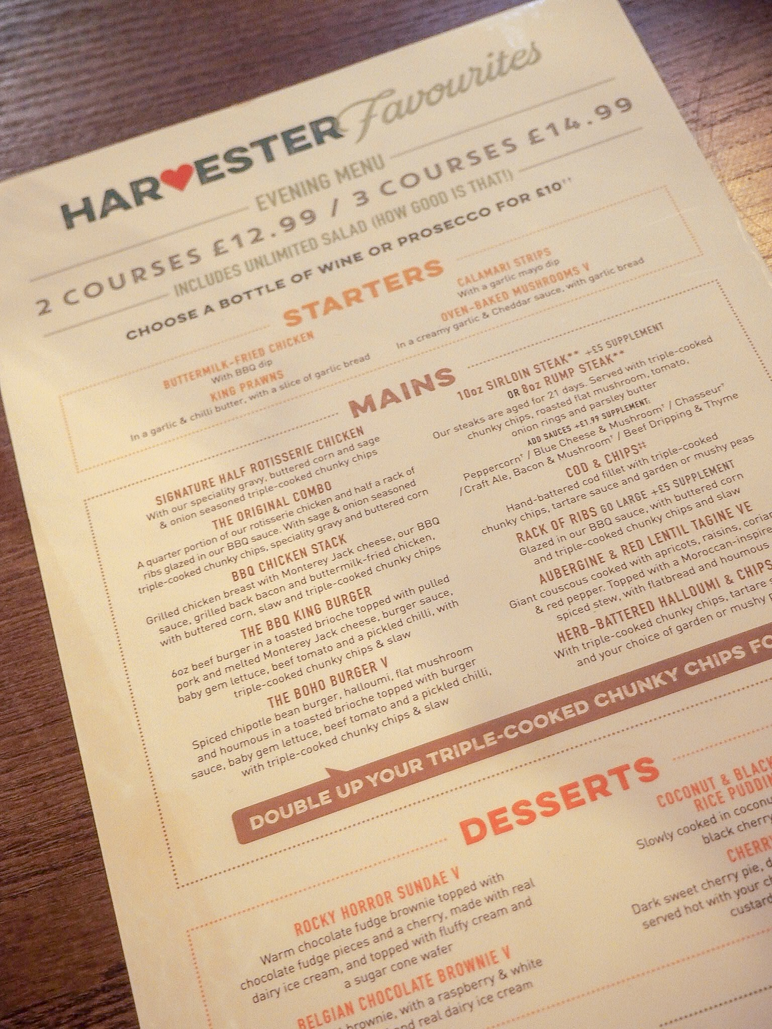 harvester evening menu