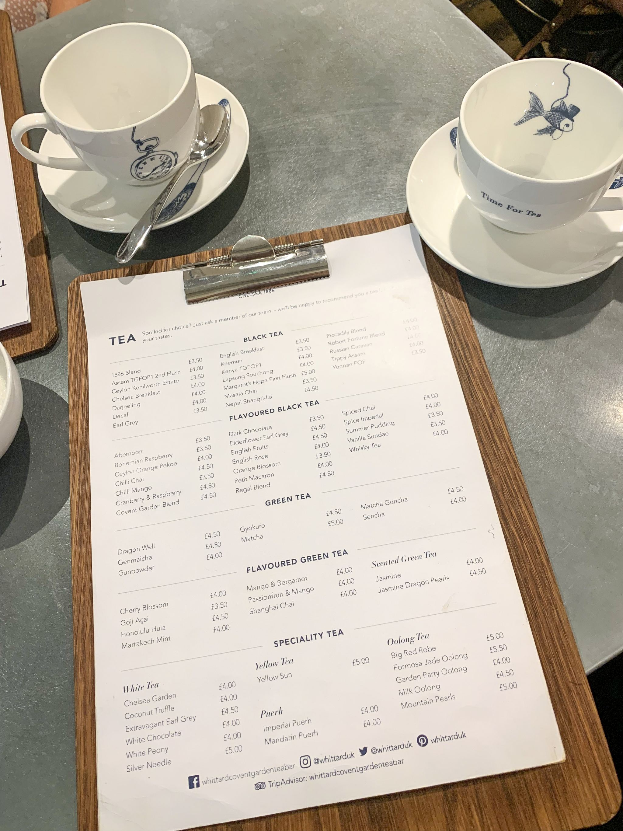 whittard tea menu